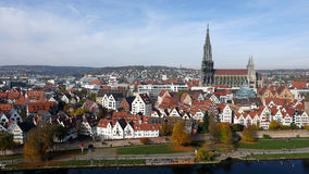 City with River and Cathedral. City Ulm with Minster and River Danube, view over the old town Stock Photo