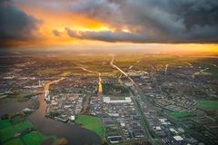 City on river delta stock photo