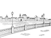 City river graphic art black white sketch landscape illustration Stock Image