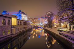 City river at night. stock photography