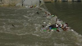 City River Polluted With Garbage stock footage