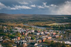 A city with a river running through it, - view of Port Jervis, New York from Elks-Brox Memorial Park