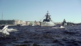 City river with war ships. City river with russian war ships stock video