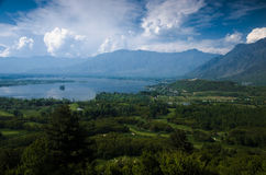 City of the river. Srinagar city of the river view with mountain background Stock Photo