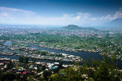 City of the river. Srinagar city of the river view with mountain background Stock Images