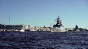 City river with war ships. City river with russian war ships stock video footage