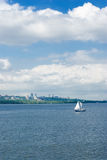 City, river and yachting. Stock Photography