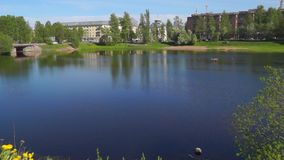 City riverside in summer stock footage