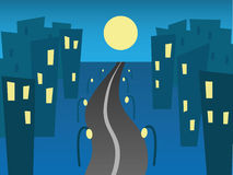 City road. Vector illustration. Road from a night city Stock Photography