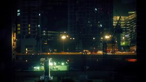 City Road Between Buildings At Night stock footage