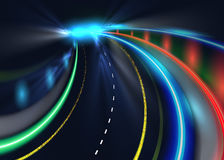 City road car light trails. High speed vector background. Illumination of road with speed car motion illustration.  Royalty Free Stock Photography