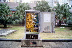 City road communication box exposed in shenzhen, china Stock Photo