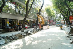 City road construction, in Shenzhen, China Stock Photos