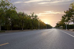 City road. The empty city road features stock photography