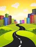 City Road. Illustration of a cartoon city road driving downtown in spring or summer season, with fields, bush and meadows and shiny sky