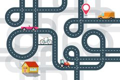 City Road Map Plan with Cars and Pin Flat Design Illustration. City Road Map Plan with Cars and Pin Vector Flat Design Illustration stock illustration