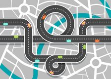 City Road Map with Streets. Vector Highway on Town. Aerial View royalty free illustration