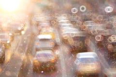 City road  with motion blur cars Royalty Free Stock Images