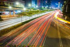 City road at night  on rush hour traffic Stock Photography