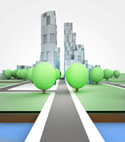 City road in office building on white background Stock Photography