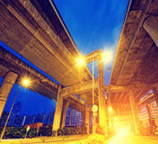 City Road overpass at night with lights Royalty Free Stock Photo