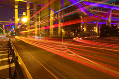City road overpass viaduct bridge of night scene Stock Photo