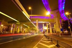 City road overpass viaduct bridge of night scene Stock Images