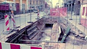 City road repair Lacplesa stock video footage
