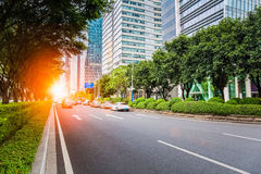 City road scene. Of guangzhou central business district in pearl river new town stock image