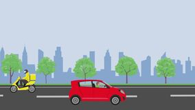 City road seamless animation with delivery car and motobike.