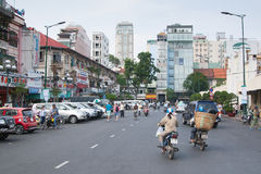 City Road and Skyscrapers in Asia. Saigon (Ho Chi Minh), Vietnam Royalty Free Stock Image