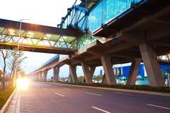 City road surface floor with viaduct bridge Stock Image