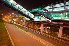 City road surface floor with viaduct bridge Royalty Free Stock Photo