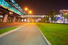 City road surface floor with viaduct bridge Royalty Free Stock Images