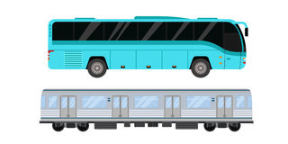 City road tram and bus transport vector illustration. Royalty Free Stock Photography