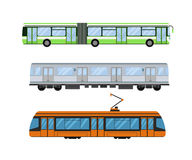 City road tram and trolleybus transport vector illustration. Stock Photos