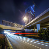 The city road under the night. City and road under construction in the night Stock Photography