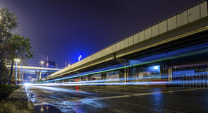 The city road under the night. City and road under construction in the night Royalty Free Stock Photo