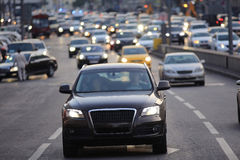 City road  with vehicles. Eveining city road  with vehicles Royalty Free Stock Images