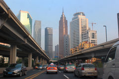 City road view of guangzhou central business district in pearl r Stock Photography