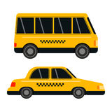 City road yellow taxi transport vector illustration. Royalty Free Stock Photography