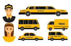 City road yellow taxi transport vector illustration. Stock Image