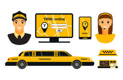 City road yellow taxi transport vector illustration. Royalty Free Stock Image