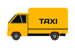 City road yellow taxi truck transport vector illustration. Stock Photos