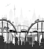 City roads and motorways with lots of traffic. Commuting time illustration Royalty Free Stock Photo
