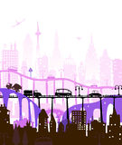 City roads and motorways with lots of traffic. Commuting time illustration Stock Images