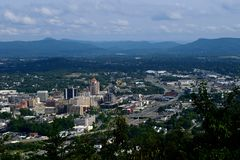 City of Roanoke. The city of Roanoke taken from Mill Mountain located in Roanoke, Virginia Stock Photos