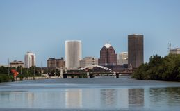 City of Rochester New York Skyline in Upstate NY. City of Rochester New York skyline with the Genesee River stock photo