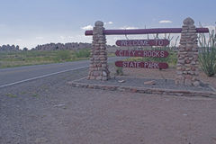 City of Rocks state park entrance sign. Stock Images