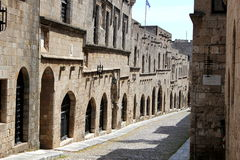 City of Rodos. Medieval street in the city of Rodos  (island of Rhodes, Greece Royalty Free Stock Photo